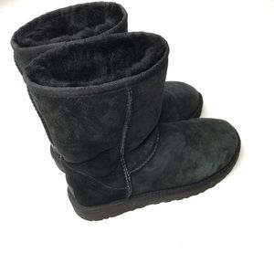 UGG Black Classic Tall Mid Calf Suede Boot